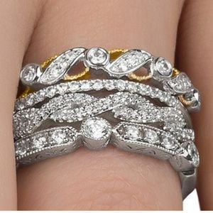 New 4pc 1ct Total Diamond Stackable Bands